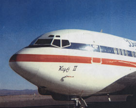 """The Dodgers' 720-B fan jet, named """"Kay 'O II,"""" was purchased in 1970 and used through the 1982 season."""
