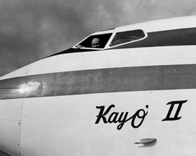 "A closer look at the designation of ""Kay 'O II"" on the Dodger 720-B fan jet. ""Kay O' II"" was the second plane which paid tribute to the First Lady of the Dodgers, Kay O'Malley. The first was the Dodger Electra II which was christened ""Kay 'O"" for Walter O'Malley's wife."