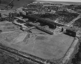 An early aerial view of Spring Training headquarters at Dodgertown in Vero Beach, FL. The Dodgers first set up camp at Dodgertown in 1948, attracted by local businessman Bud Holman.