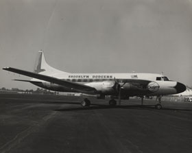 "The Brooklyn Dodgers Convair 440 Metropolitan twin-engine plane was purchased on January 4, 1957. The Dodgers took delivery of the plane in mid-March. At the time of purchase, Dodger President Walter O'Malley announced to Associated Press, ""This is the first time a major league club has bought an airplane."""