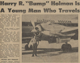 """A newspaper article about the traveling lifestyle of Dodger pilot """"Bump"""" Holman of Vero Beach, Florida."""