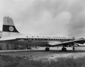 A starboard view of the 66-seat Los Angeles Dodgers DC-6B, in use by the club for the 1961 season. In addition to transporting the Dodgers, the DC-6B also carried the newly-formed Los Angeles Angels of the American League back east during Dodger homestands. The DC-6B was used for one season until the Electra II arrived in 1962.