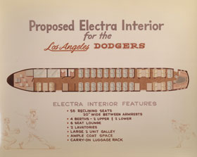 The Dodgers purchased the Lockheed Electra II from General Motors early in 1961, but had to wait to take delivery of the airplane until November of that year. The Dodgers spent $75,000 with Horton and Horton to design the interior.