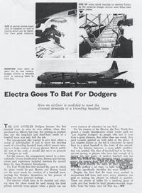 A magazine article about the preparation of the Dodgers' new Lockheed Electra II from General Motors.