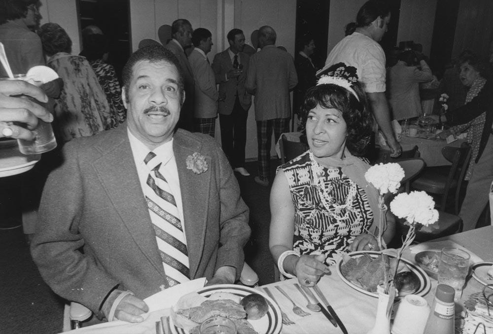 (L-R) Roy Campanella; Roxie Campanella, circa 1970s.<br /><br /> Dodger Hall of Fame catcher Roy Campanella, a three-time National League Most Valuable Player and catcher on the 1955 Dodger World Championship is with his wife Roxie at the annual St. Patrick's Day Party in Dodgertown in Vero Beach, Florida.  Campanella remained a regular visitor to Dodgertown and instructed several generations of Dodger catchers after his retirement.