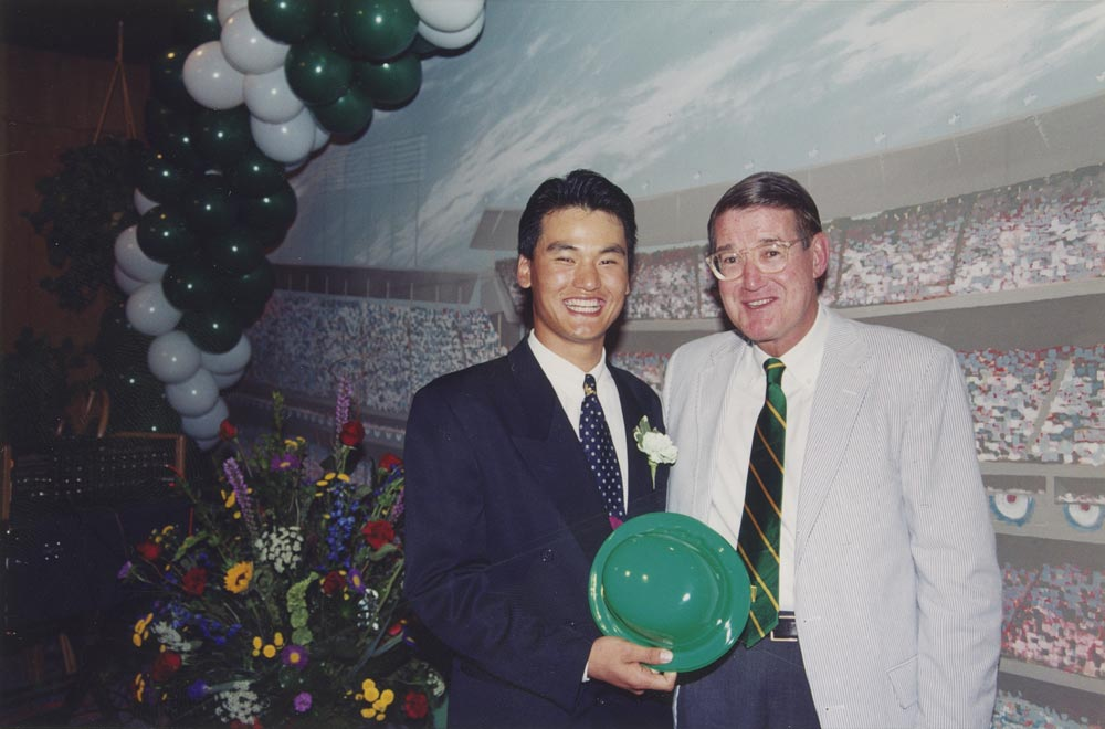 (L-R) Dodger pitcher Chan Ho Park; Peter O'Malley, March 17, 1994<br /><br />Chan Ho Park, the first South Korean born player to sign a professional contract with an American major league team, is welcomed to the annual St. Patrick's Day Party by Peter O'Malley, who made the crucial decision to sign Park.  Park is the all-time winningest Asian born pitcher in the major leagues with 124 wins.  He made his major league debut three weeks later with the Dodgers on April 8, 1994.
