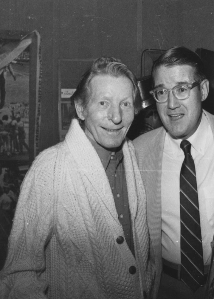 (L-R) Entertainer Danny Kaye; Peter O'Malley, March 17, 1984<br /><br />Superstar movie and TV personality Danny Kaye is welcomed by Dodger President Peter O'Malley at the annual St. Patrick's Day Party in Dodgertown in Vero Beach, Florida.