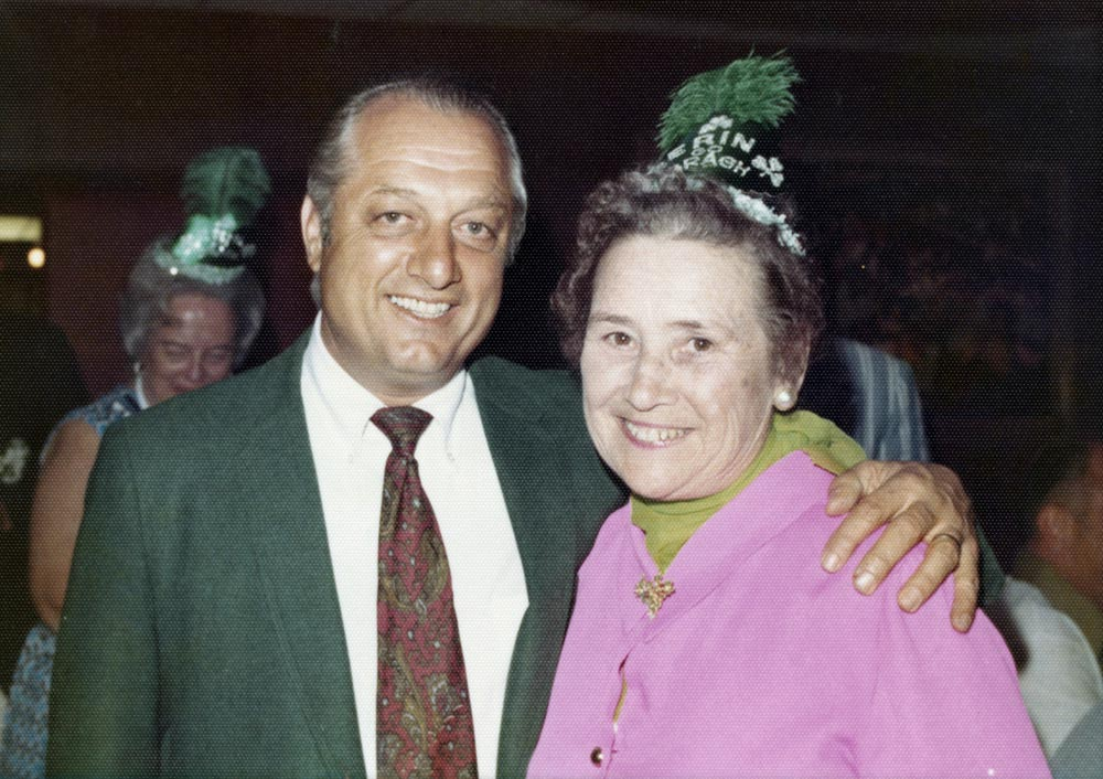 (L-R) Dodger AAA manager Tom Lasorda; Kay O'Malley, March 17, 1971<br /><br />Future Hall of Fame Dodger Manager Tom Lasorda, currently the Dodgers' AAA manager at Spokane, is greeted by Kay O'Malley, First Lady of the Dodgers at the annual St. Patrick's Day Party in Dodgertown in Vero Beach, Florida.