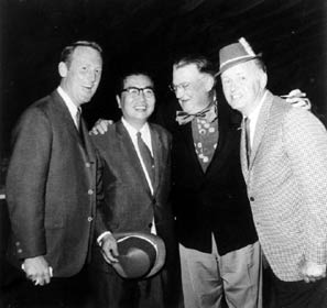 The St. Patrick's Day event had an international flavor in 1967, as the Tokyo Giants from Japan visited Dodgertown for spring training. Owner Toru Shoriki of the Giants is greeted by (left to right) broadcaster Vin Scully, Dodger President Walter O'Malley and broadcaster Jerry Doggett.