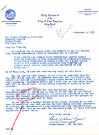 On September 1, 1955, Roz Wyman, Los Angeles City Councilwoman, sends a letter to Dodger President Walter O'Malley asking if she and Ed Roybal, another member of the Council, could meet with him in New York. Wyman wanted to discuss the possibility of bringing the Dodgers to Los Angeles. O'Malley, who was focused on trying to find a way to build a dome stadium in Brooklyn, wrote her and declined her offer.