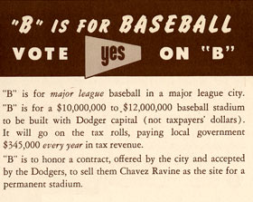 "A portion of the 1958 brochure in favor of Proposition B. A ""Yes For Proposition B"" vote would confirm the previously-approved contract between the City of Los Angeles and the Dodgers."