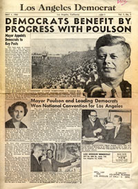 Los Angeles Democrat newsletter of May 1, 1961 reviews the 1960 Democratic National Convention rally at which candidate John F. Kennedy gives his acceptance speech for the presidential nomination. Roz Wyman suggested that the rally and nomination be held outdoors at the Los Angeles Memorial Coliseum, instead of indoors at the L.A. Sports Arena, and the risky idea proved to be an overwhelming success.
