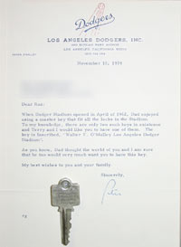 "After the passing of their father in August 1979, Dodger President Peter O'Malley and his sister Terry O'Malley Seidler presented Roz Wyman with one of only two engraved ""master keys to Dodger Stadium"" belonging to Walter O'Malley. Peter sent a letter on November 15, 1979 to Wyman in which he states, ""Terry and I would like you to have one of them."" For 50 years, Wyman has had a close friendship with the O'Malley family."