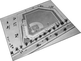 A model of Holman Stadium, which was built in a unique and cost-efficient manner, as the dirt was pushed up to form a bowl and an embankment, a signature part of the ballpark's setting.