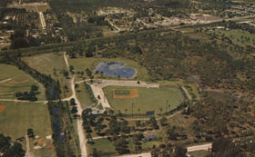 The heart-shaped lake behind Holman Stadium is a tribute to Kay O'Malley from her husband. An enthusiastic baseball fan, Kay kept score of every Dodger game.