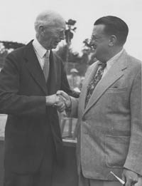 Walter O'Malley and Connie Mack, Philadelphia Athletics owner and longtime former Manager Connie Mack exchange pleasantries at the Holman Stadium dedication on March 11, 1953.