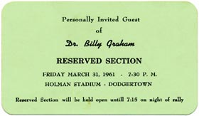 Evangelist Dr. Billy Graham speaks to a large gathering during his Florida Crusades at Holman Stadium on March 31, 1961.