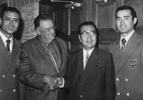 Yomiuri Giants slugger Sadaharu Oh, Walter O'Malley, Giants President Toru Shoriki and Giants Manager Shigeo Nagashima enjoy another cultural exchange at Dodgertown in 1971.