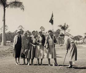 In 1953, Walter O&#8217;Malley designed a nine-hole pitch and putt golf course. Kay O&#8217;Malley, holding the flag, is joined by <nobr>(l-r)</nobr> Elizabeth Hickey, Edna Praeger, Evit Bavasi, May Smith and Lela Alston.