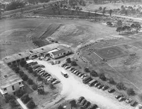 This aerial taken on March 7, 1950 shows the general Dodgertown layout with Fields No. 1 and No. 2 adjacent to the barracks, which housed the more than 600 major and minor league Dodgers.