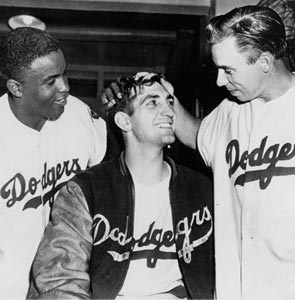 Jackie Robinson, Ralph Branca and Pee Wee Reese