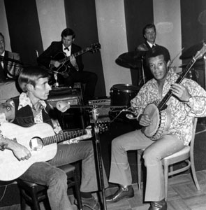 Maury Wills (right) was invited by Walter O'Malley to play the banjo at one of the renowned St. Patrick's Day parties at Dodgertown. He is joined by teammate Tommy Hutton on the guitar.