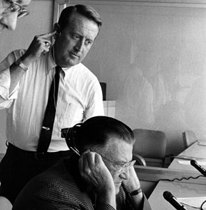 Vin Scully and Dodger owner Walter O'Malley in the Dodger Stadium broadcast booth in the 1960s.