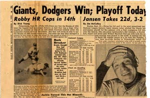 The October 1, 1951 headline in the New York <em>Daily News</em> says it all as the Dodgers and Giants begin a best-of-three playoff series to determine the National League Pennant winner.