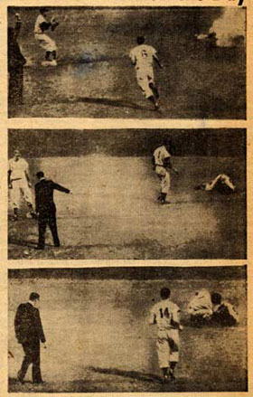 A sequence of photos by Associated Press ran in the <em>New York Post</em> on October 1, 1951 showing the game-saving diving catch by second baseman Jackie Robinson. Many observers believe it was Robinson's greatest defensive play.