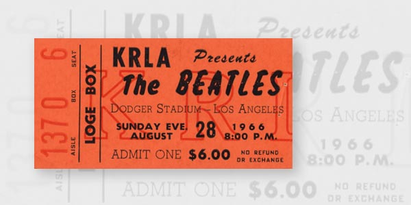 "A Loge Level ticket to ""The Beatles"" concert at Dodger Stadium is shown. Ticket prices ranged from $4.50 on the Top Deck to $6 for the Field and Loge Levels."