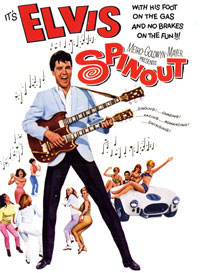 "Poster art from the 1966 movie ""Spinout"" starring Elvis Presley as ""Mike McCoy,"" a pop singer on the road who doubles as a part-time race car driver. Presley drove his race car in the Dodger Stadium Parking Lot in March 1966, filming scenes simulating the start and finish of the ""Santa Fe Road Race.""  In the photo above, Elvis drives by the Dodger Stadium Parking Lot sign for Lot 38, featuring an orange globe with baseball stitching, as he approaches the finish line."