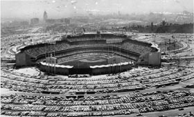 The vast parking areas at Dodger Stadium provide opportunities for events such as the first non-baseball event, the 1963 Sports Car Road Races to be held.