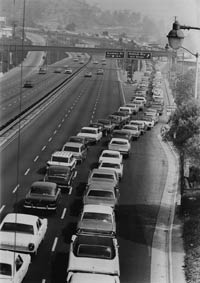 A steady stream of cars makes its way to Dodger Stadium, which would become a familiar sight during the next four decades.