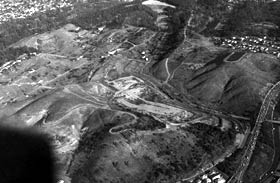 An aerial view of the land prior to the construction of Dodger Stadium.