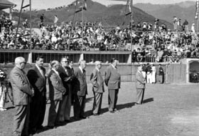 """The """"dugout boxes"""" at Japan's Korakuen Stadium, where the Dodgers played many exhibition games during their 1956 goodwill tour, would be incorporated into the design of Dodger Stadium."""
