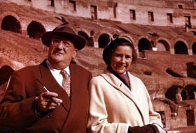 Walter and Kay O'Malley observe the famed Roman Colosseum as part of their around-the-world family trip following the Dodgers' goodwill tour to Japan in 1956.