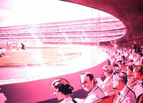 An artist's sketch of the new Dodger Stadium dugout seats, which were inspired by the similar design of the dugout seats at Korakuen Stadium in Tokyo, Japan.