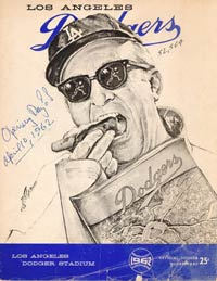 The Dodger Stadium program from Opening Day 1962. The cover sketch is a self-portrait by artist Nicolas Volpe.