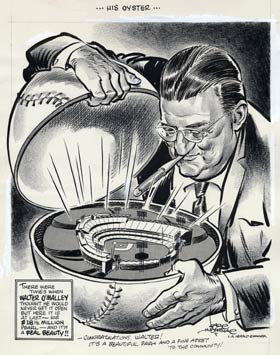 "Artist Karl Hubenthal saluted the beauty of Walter O'Malley's Dodger Stadium ""pearl"" as the Dodger President opened a baseball-shaped oyster."