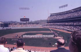 The Dodgers' first opponent in their new ballpark in 1962 was Manager Fred Hutchinson's Cincinnati Reds, the defending National League champions.