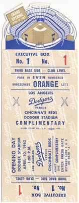 Walter O'Malley's Executive Box ticket for the Grand Opening of Dodger Stadium on April 10, 1962.