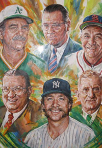 "The painting of the ""2008 Induction Class"" of the National Baseball Hall of Fame and Museum portrays the newest members. Clockwise from the top left are Manager Dick Williams; Baseball Commissioner Bowie Kuhn; Manager Billy Southworth; team owner Barney Dreyfuss; relief pitcher Rich ""Goose"" Gossage; and Dodger owner Walter O'Malley.<br /><br />Photo courtesy of Brent Shyer"