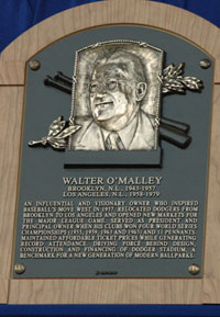 The bronze plaque of Walter O&#8217;Malley that will reside in the National Baseball Hall of Fame and Museum is unveiled at the Induction Ceremony on July 27, 2008.<br /><br />Photo courtesy of Ben<br />Platt/MLB.com