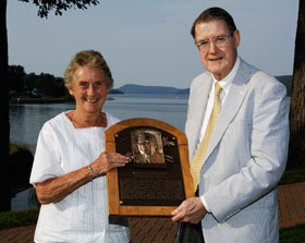 "Terry O'Malley Seidler, daughter of Walter O'Malley, and Peter O'Malley, son of Walter O'Malley and former President, Los Angeles Dodgers, 1970-98, proudly hold the plaque of their father who was enshrined in the National Baseball Hall of Fame and Museum on July 27, 2008. The photo was taken following the Induction Ceremonies for the ""Class of 2008"" at the The Otesaga Hotel in Cooperstown, New York. Just hours later, the plaque found its permanent resting place in the Hall of Fame Plaque Gallery at the National Baseball Hall of Fame and Museum.<br /><br />Photo courtesy of Milo Stewart Jr./Baseball<br />Hall of Fame"